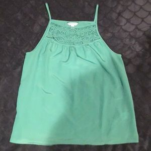 Green tank top with lace design